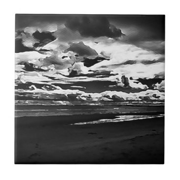 Monochrome Picture of Dornoch Beach Tile