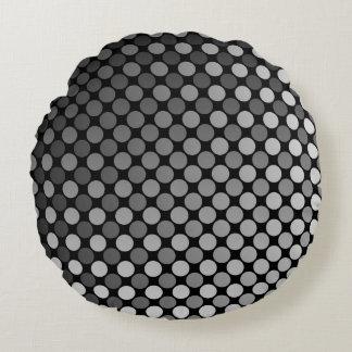 Monochrome Polka Dot fade Round Pillow
