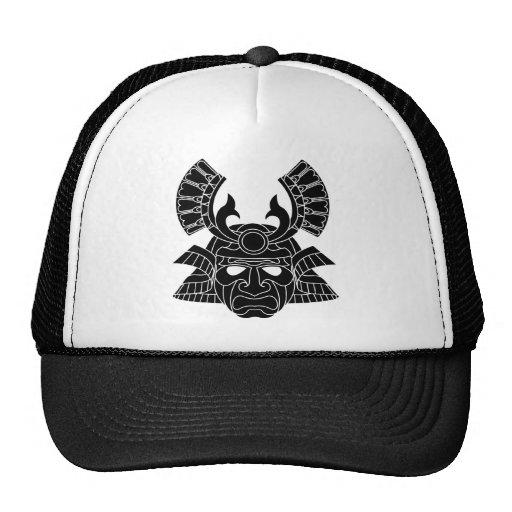 Monochrome samurai mask mesh hats