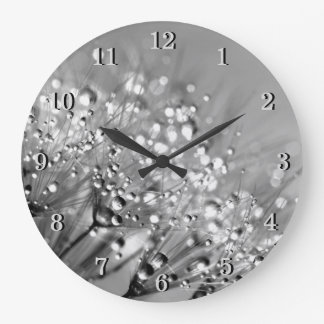 Monochrome Silver Gray Dandelion and Water Drops Large Clock