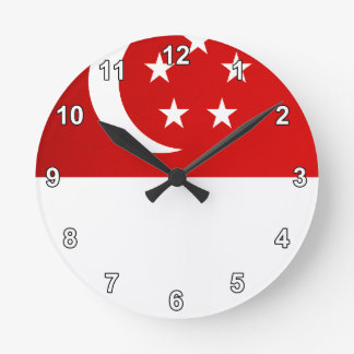 Monochrome Singapore Flag Round Clock