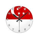 Monochrome Singapore Flag Round Wall Clock