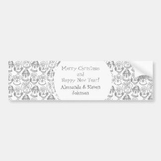 monochrome singing angels on white background bumper sticker