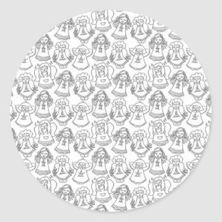 monochrome singing angels on white background stickers
