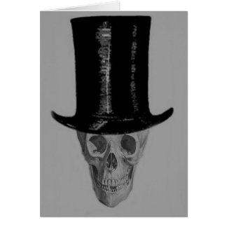 Monochrome Skull Top Hat Greeting Card