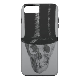 Monochrome Skull Top Hat Stove Pipe Hat iPhone 7 Plus Case