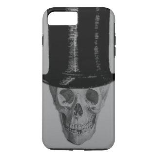 Monochrome Skull Top Hat Stove Pipe Hat iPhone 8 Plus/7 Plus Case