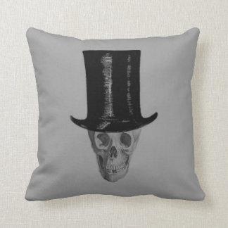 Monochrome Skull Top Hat Throw Pillow