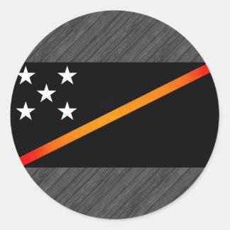 Monochrome Solomon Islands Flag Classic Round Sticker