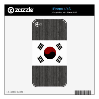 Monochrome South Korea Flag Decals For iPhone 4