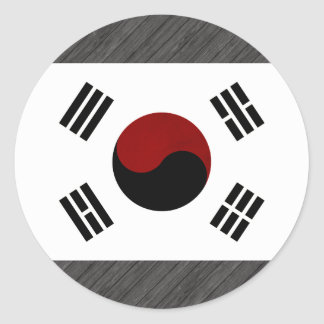 Monochrome South Korea Flag Round Sticker