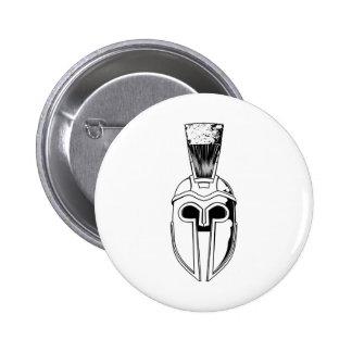 Monochrome Spartan helmet illustration Button