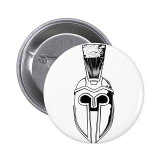 Monochrome Spartan helmet illustration Pin