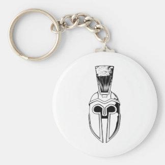 Monochrome Spartan helmet illustration Key Chain