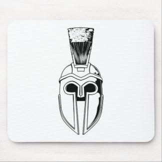 Monochrome Spartan helmet illustration Mousemat