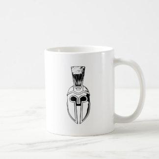 Monochrome Spartan helmet illustration Mug