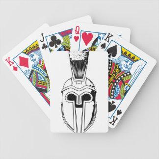 Monochrome Spartan helmet illustration Poker Deck