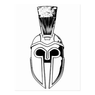 Monochrome Spartan helmet illustration Postcard