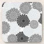 Monochrome Summer Flowers Pattern Beverage Coasters