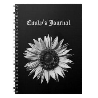 Monochrome Sunflower Notebook