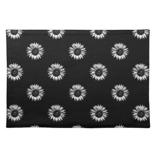 Monochrome Sunflower Pattern Place Mat