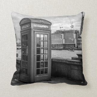 Monochrome Telephone Booth London Throw Pillow