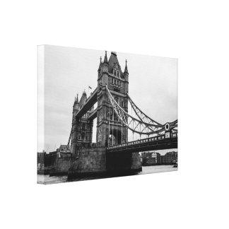 Monochrome Tower Bridge, Thames, Photograph Canvas Print