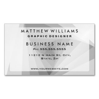 Monochrome Triangular Abstract Geometric Spiral Magnetic Business Card