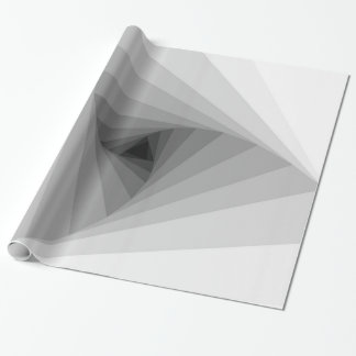 Monochrome Triangular Abstract Geometric Spiral Wrapping Paper