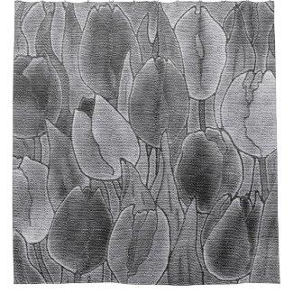 Monochrome Tulips Design Shower Curtain