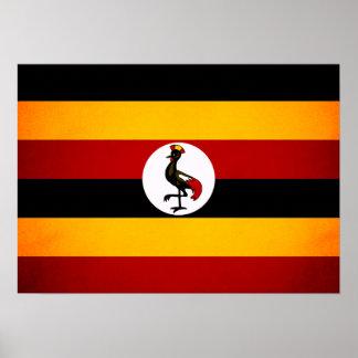 Monochrome Uganda Flag Print