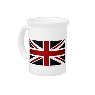 Monochrome United Kingdom Flag Beverage Pitchers