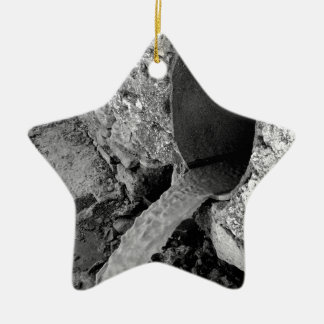 Monochrome view of the water flows ceramic ornament
