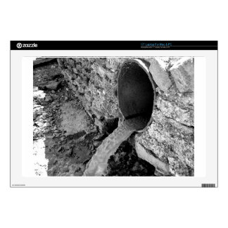 Monochrome view of the water flows laptop skin