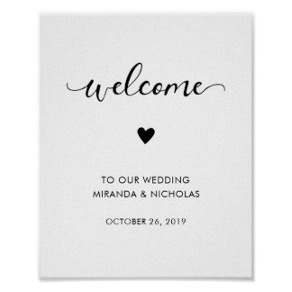 Monochrome wedding welcome sign | Wedding poster