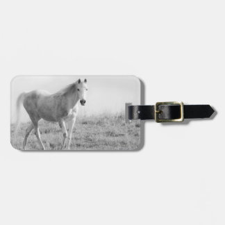 Monochrome white horse bag tag