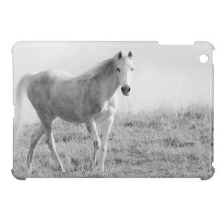 Monochrome white horse iPad mini cover