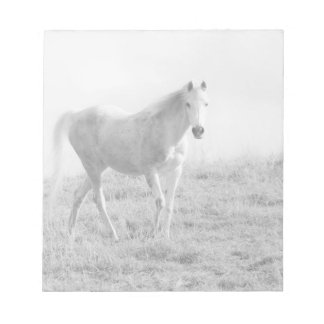 Monochrome white horse scratch pads