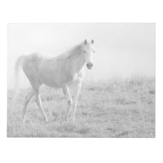 Monochrome white horse scratch pad
