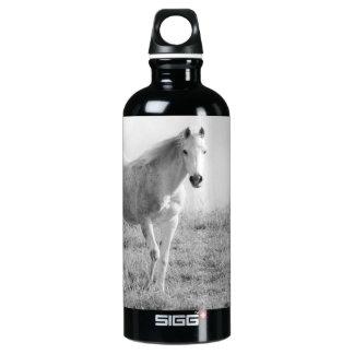 Monochrome white horse water bottle