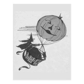 Monochrome Witch Air Balloon Jack O Lantern Postcard