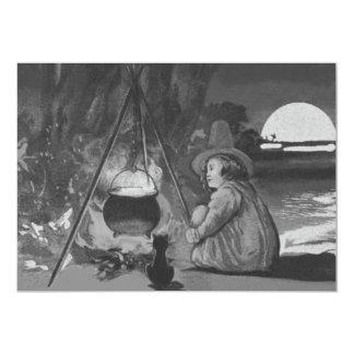 Monochrome Witch Black Cat Cauldron Full Moon Card