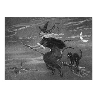 Monochrome Witch Broom Black Cat Card