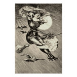 Monochrome Witch Flying Broom Bat Full Moon Poster