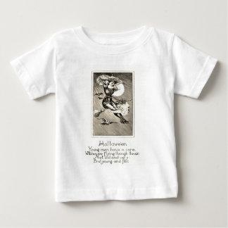Monochrome Witch Flying Broom Owl Bat Full Moon Baby T-Shirt