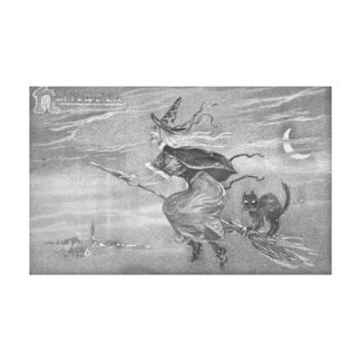 Monochrome Witch on a Broom Wrapped Canvas Art Canvas Print