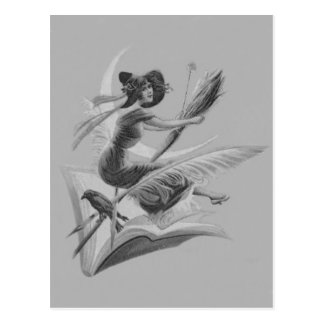 Monochrome Witch Raven Crescent Moon Postcard