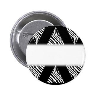 Monochrome Zebra Stripe Triangles on Black. Pinback Button