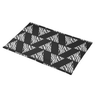 Monochrome Zebra Stripe Triangles on Black. Cloth Place Mat