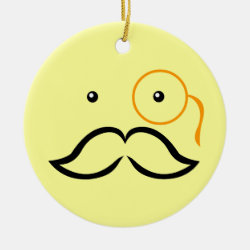 Circle Ornament with Stylized Monocle and Mustache  design